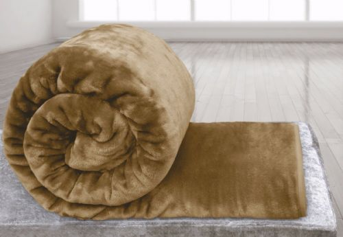 BEIGE LATTE COLOUR SUPER SOFT PLUSH MINK THROW